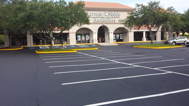 Asphalt Striping, Sealing, and Repair in the Tampa Bay and St Petersburg area by Florida Asphalt Solutions.
